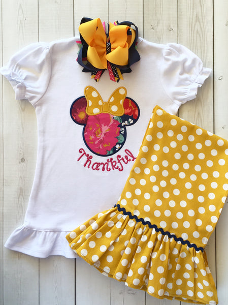 Thankful Embroidered Minnie Inspired Single Ruffle Pant Set