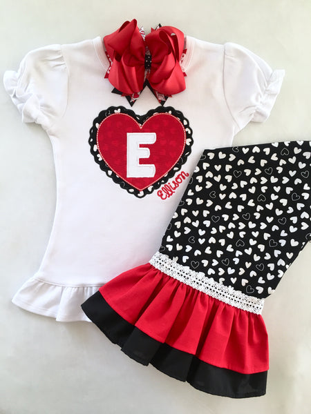 Heart to Heart Girl's Embroidered Initial Double Ruffle Pant set