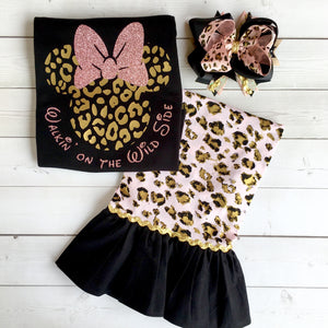 Lion King Inspired Girl's Cheetah Minnie Glitter Single Ruffled Pant Set