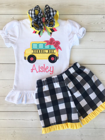 Little Miss Back To School Embroidered Bus Basic Ruffle Short Set