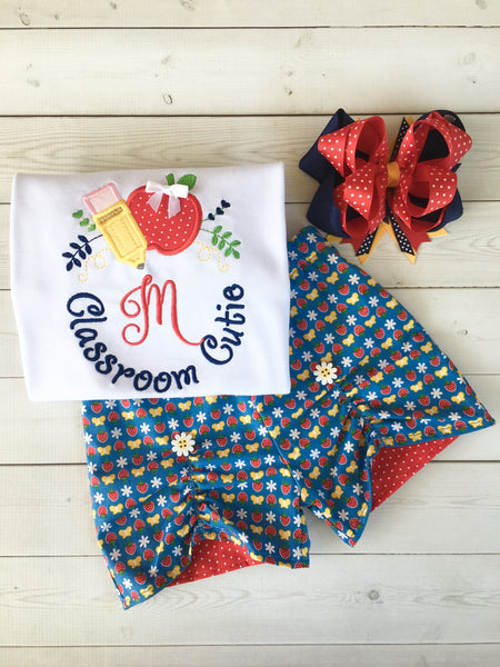Classroom Sweetie Embroidered Frame Peek-A-Boo Short Set