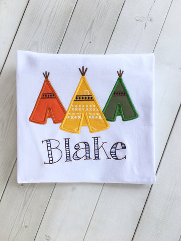 Boy's Embroidered Teepee Shirt ONLY