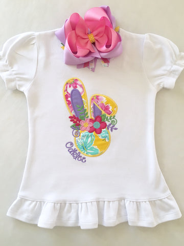 Floral Bunny Embroidered Shirt ONLY