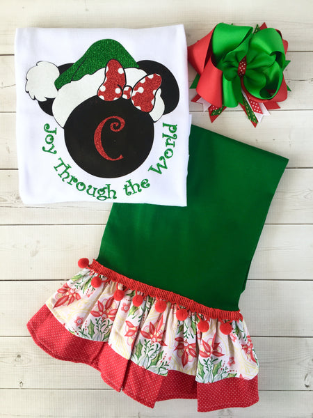 Santa Miss Mouse Glitter Pant Set