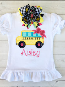 Little Miss Back To School Embroidered Bus SHIRT ONLY