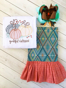 Grateful Embroidered Pumpkin Single Ruffle Pant Set