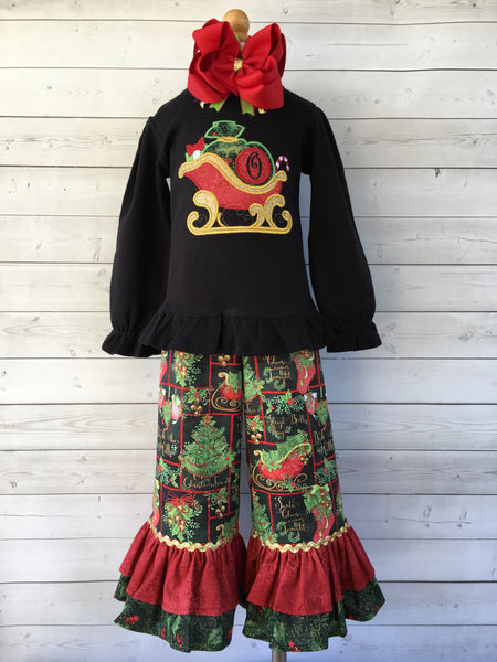 Sleigh Bells Ring Embroidered Double Ruffle Pant Set