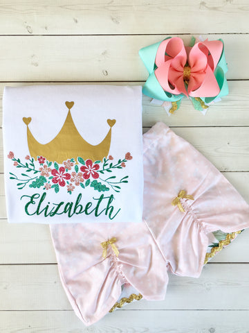 Gorgeous princess outfit for girls, toddlers and babies. Gold crown covered in glitter pink flowers customized with full name. Pink petal custom shorts are perfection!