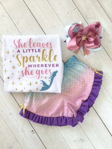 "Majestic Mermaid ""She Leaves A Little Sparkle"" Ruffle Shortie Set"