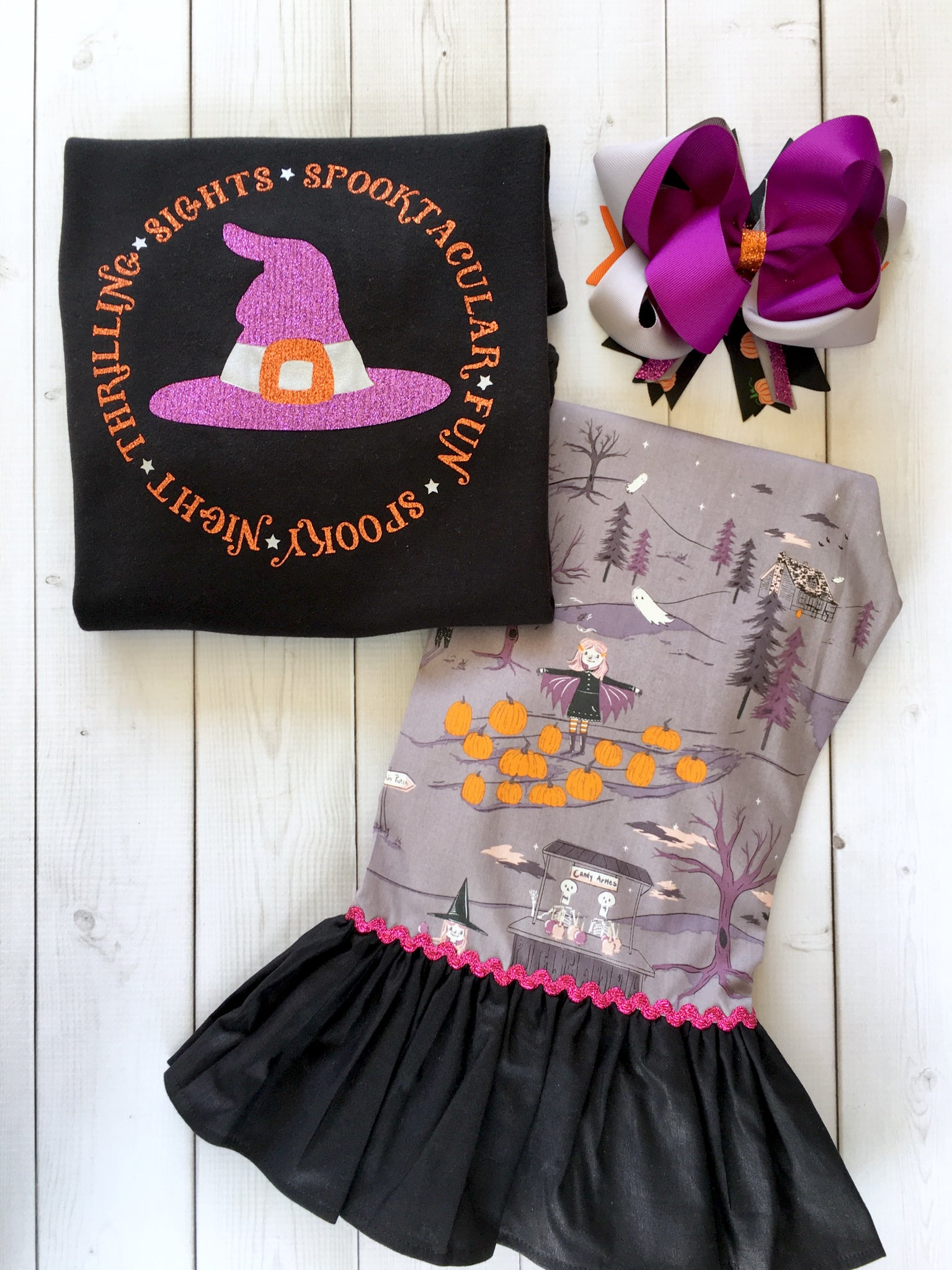 Glitter Witch Hat and Friends Single Ruffle Pant Set