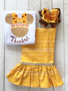 Thanksgiving Girl Mouse Ears Single Ruffle Pant Set