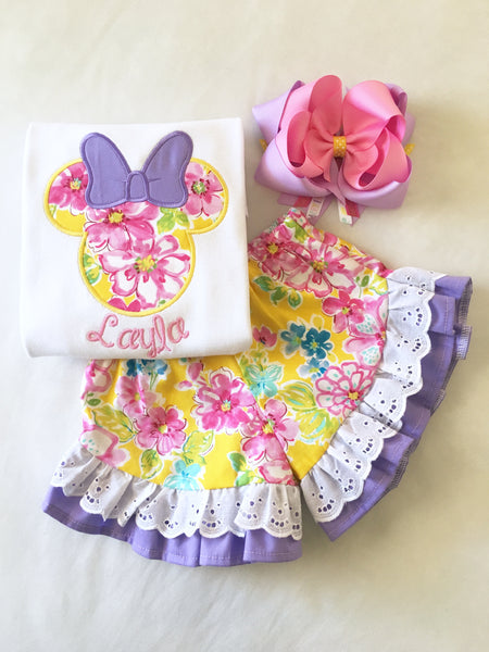 Spring Minnie Embroidered Ruffle Short Set