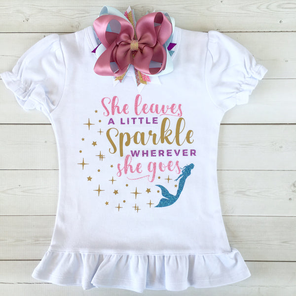 "Majestic Mermaid ""She Leaves A Little Sparkle"" Peek-A-Boo  Shortie Set"