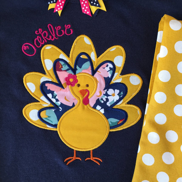 Thankful Embroidered Girl Turkey Single Ruffle Pant Set