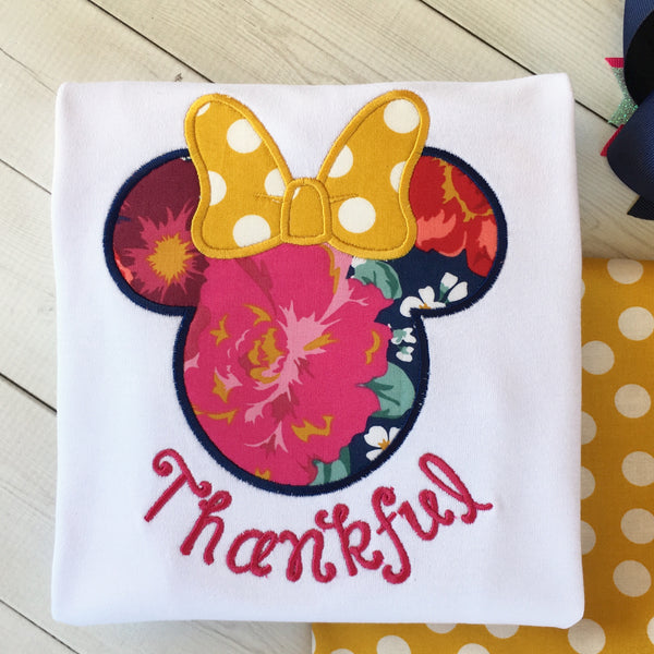 Thankful Embroidered Minnie Inspired Shirt ONLY