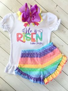 He Is Risen Embroidered Ruffle Shortie Set