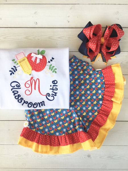 Classroom Sweetie Embroidered Frame Ruffle Short Set