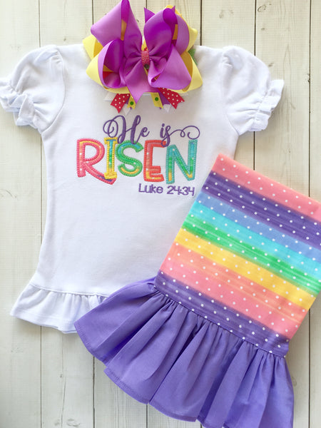 He Is Risen Embroidered Single Ruffle Pant Set