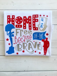 Freedom and Fireworks Home of The Free Boy SHIRT ONLY