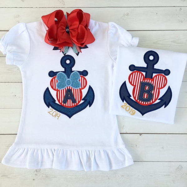 "Cruisin' On The High Seas- Embroidered ""Minnie Anchor"" Traditional Anchor Shortie with Ruffle"