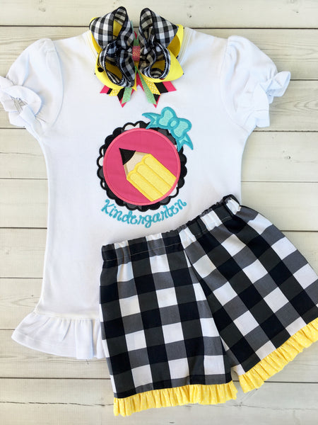 Little Miss Back To School Embroidered Pencil Basic Ruffle Short Set