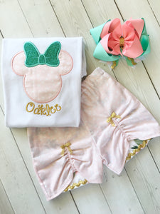 Her Majesty's Embroidered *Pink Petals* Minnie Inspired Peek-a-boo Shortie Set