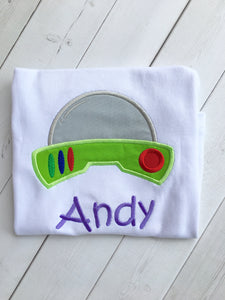 Toy Story Inspired Embroidered Buzz Helmet Boy's SHIRT ONLY