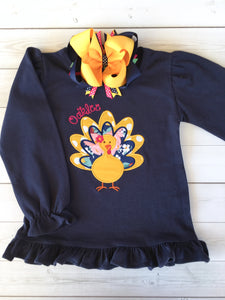 Thankful Embroidered Girl Turkey Shirt ONLY