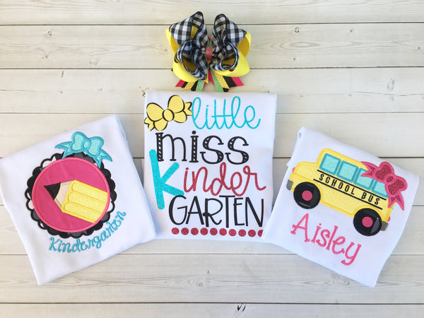 Little Miss Back To School Embroidered Pencil SHIRT ONLY