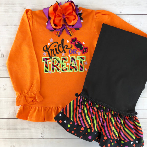 Halloween Party-Embroidered Candy Double Ruffled Pant Set
