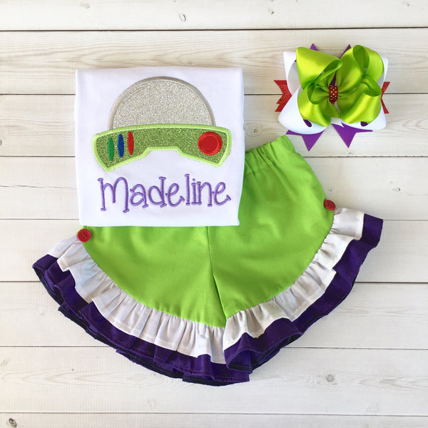 Toy Story Inspired Buzz Lightyear Ruffle Short Set