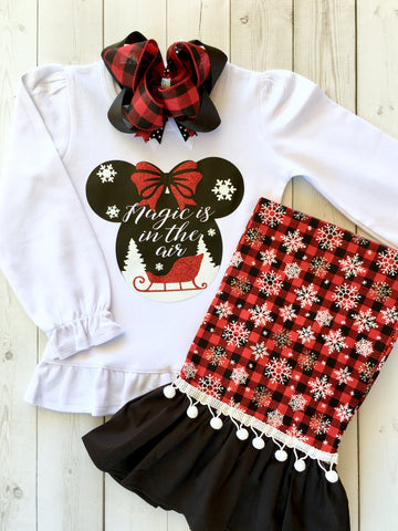 Magic Is In The Air Mouse/Red Buffalo Plaid Single Ruffle Pant Set