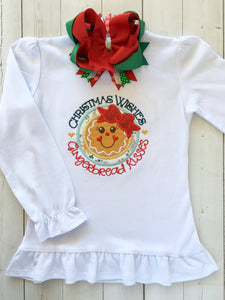 Gingerbread Kisses Girl Shirt ONLY