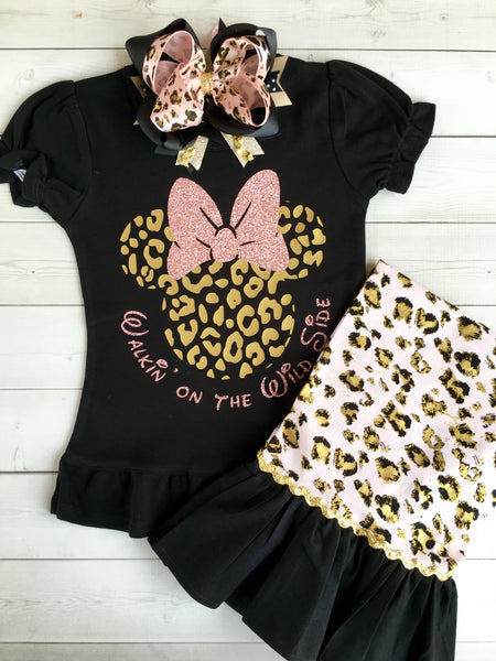 Walkin' On the Wild Side Girl's Cheetah Glitter Mouse Single Ruffled Pant Set