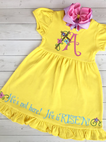 He Is Risen Easter Glitter Vinyl Dress