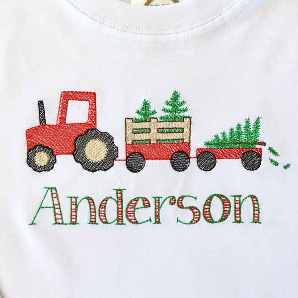 Christmas Tree Farm Boys Embroidered Shirt ONLY