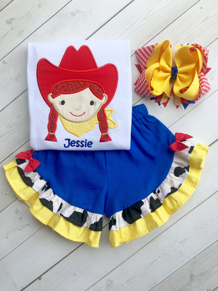 Toy Story Inspired Embroidered Jessie Ruffle Short Set