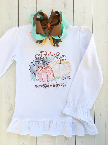 Grateful Embroidered Pumpkins Shirt ONLY
