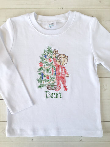 Christmas Tradition Embroidered (Boy) SHIRT ONLY