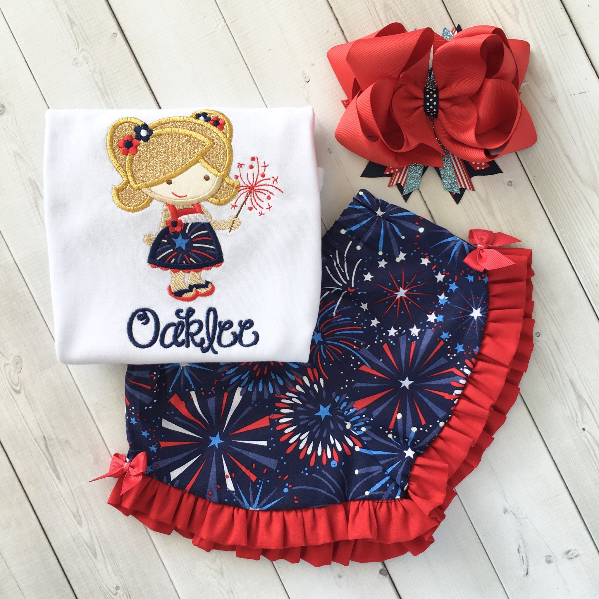 Freedom and Fireworks Embroidered Sparkler Girl Ruffle Short Set