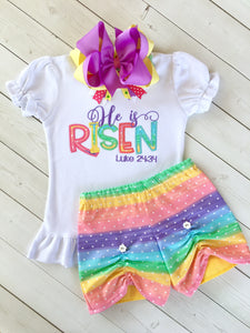 He Is Risen Embroidered Peek-a-Boo Shortie Set