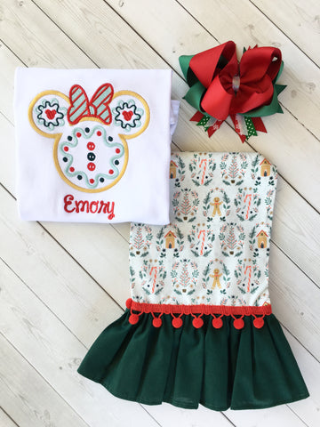 Miss Mouse Christmas Cookie Ruffle Pant Set