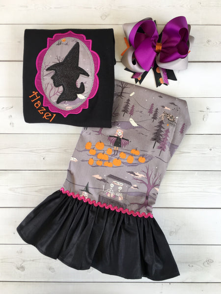 Embroidered Glitter Witch and Friends Single Ruffle Pant Set