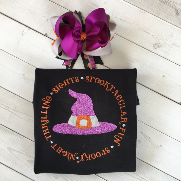 Glitter Witch Hat Girls Shirt ONLY