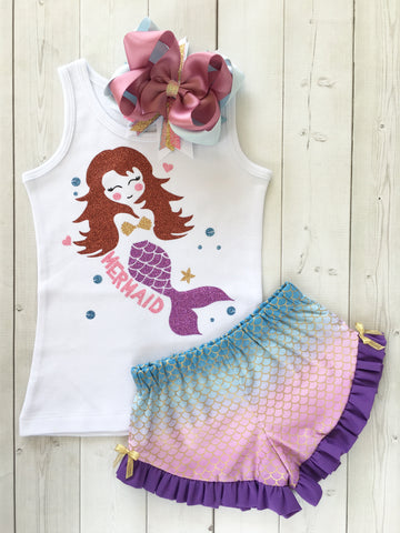 Majestic Mermaid Glitter Ruffle Shortie Set