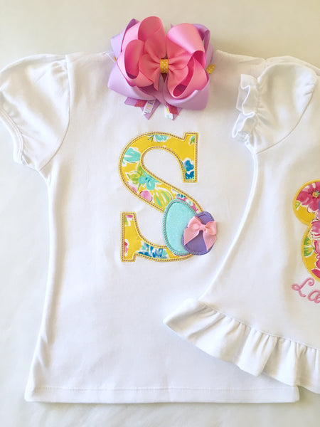 Easter Embroidered Initial Basic short with Ruffle Set