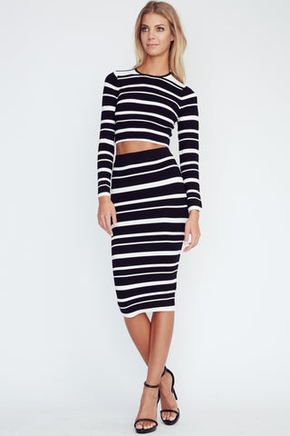 Olivaceous striped Pencil Skirt