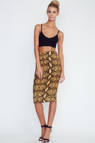 Olivaceous Pencil Skirt with Zipper