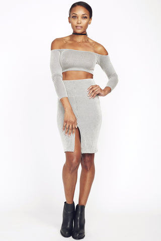 BLANC Body-con front split skirt