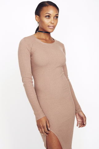 Ribbed high split dress